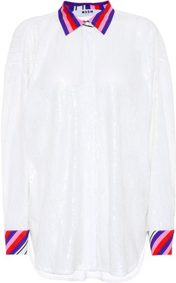MSGM Sequinned oversized shirt