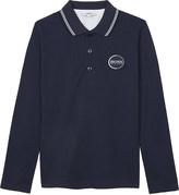 BOSS Logo cotton long-sleeved polo shirt 4-16 years