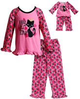 "Dollie & Me Girls 4-14 Puurfection"" Top & Bottoms Pajama Set"