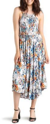 Angie Smocked Bodice Floral Midi Dress