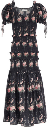 LoveShackFancy Thea Shirred Floral-print Silk Midi Dress