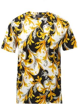 Versace Baroque-print Stretch-cotton T-shirt - Black Yellow