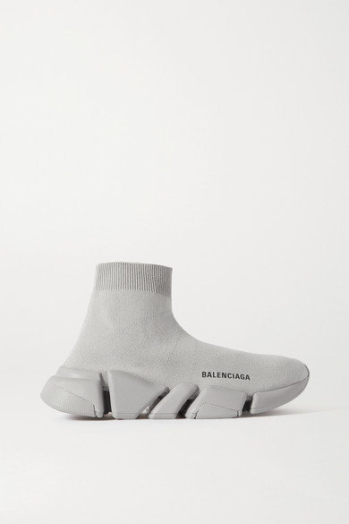 Balenciaga Speed Lt 2.0 Stretch-knit High-top Sneakers - Gray