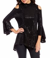 IC Collection Metallic Detail Cold-Shoulder Bell Sleeve Tunic