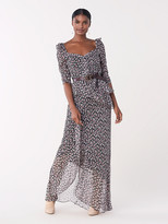 Diane von Furstenberg Jasmyne Ruffled Crinkle Chiffon Maxi Dress