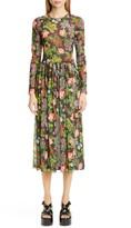 Molly Goddard Alberta Floral Print Long Sleeve Mesh Midi Dress