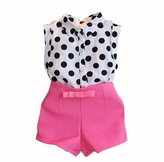 Morecome Kid Girl Polka Dot T-shirt Tops Pink Bowknot Pants Shorts (3-4Y, )