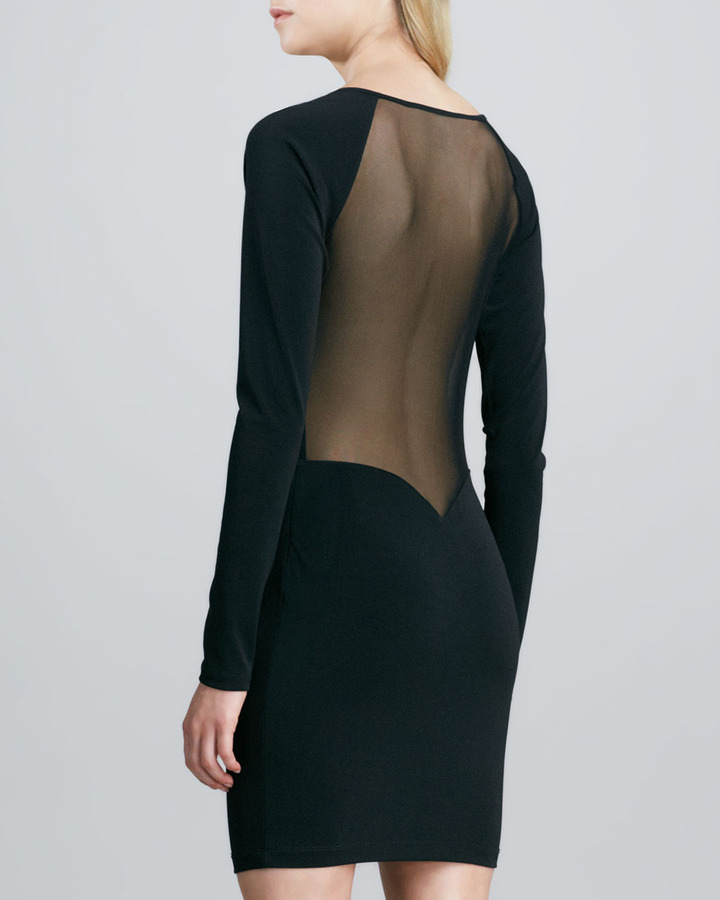 Elizabeth and James Katrina Long-Sleeve Dress with Sheer Insets