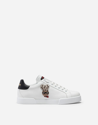 Dolce & Gabbana Portofino Sneakers In Nappa Calfskin With Designers Patches