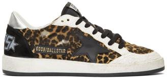 Golden Goose Tan and Black Calf-Hair Animalier Ball Star Sneakers