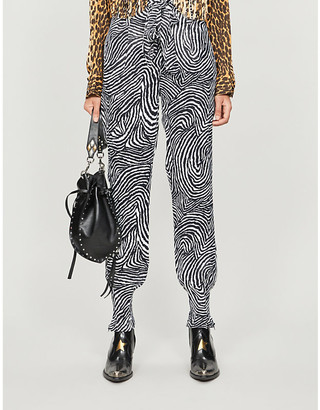 The Kooples Animal-print knotted-waist trousers