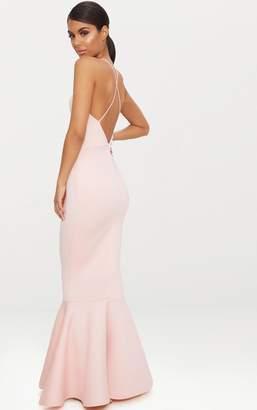 PrettyLittleThing Nude Cross Back Fishtail Maxi Dress