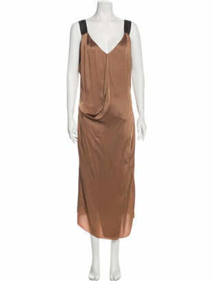 Brunello Cucinelli V-Neck Long Dress Gold