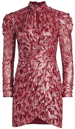 Jonathan Simkhai Metallic Jacquard Mockneck Dress