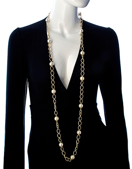 Lolita Jewelry Gold And Pearl Large Link Long Necklace