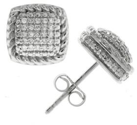 Macy's Diamond Square Cluster Stud Earrings (1/6 ct. t.w.) in Sterling Silver