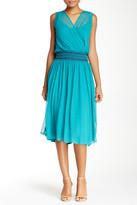 Ella Moss Silk Crepe Surplice Midi Dress