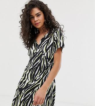 New Look Tall wrap dress in animal print-Black