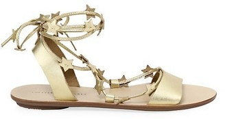 Loeffler Randall Starla Ankle-Wrap Metallic Leather Sandals