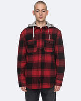 DC Mens Runnels Long Sleeve Hooded Flannel Shirt