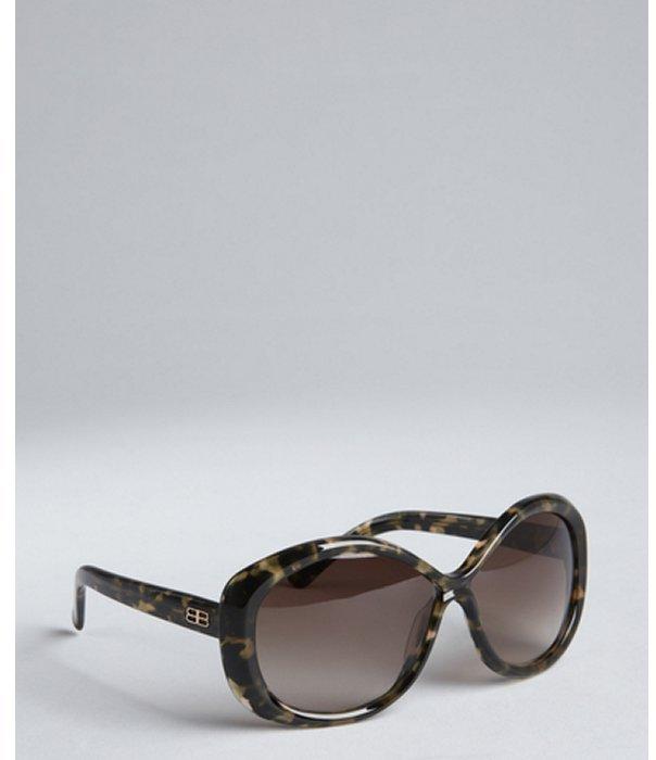 Balenciaga black and tan horn acrylic sunglasses