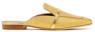 Malone Souliers Jada Backless Raffia Loafers - Womens - Gold