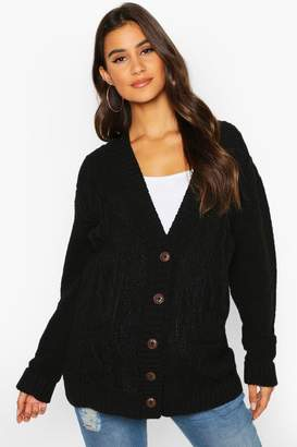 boohoo Maternity Cable Knit Cardigan