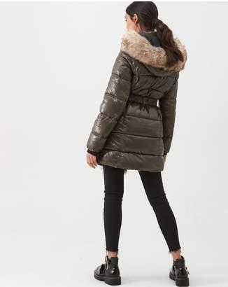River Island Faux Fur Front High Shine Padded Jacket - Khaki
