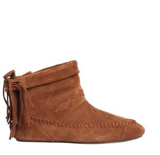 Saint Laurent Fringed Detail Lace Boots