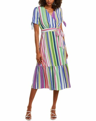 Maggy London Women's Stripe Short Sleeve Fit and Flare