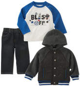 Kids Headquarters 3-Pc. Hooded Jacket, Blast Off T-Shirt & Jeans Set, Baby Boys
