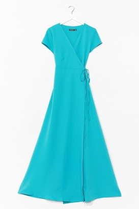 Nasty Gal Womens Let's Wrap This Up Belted Maxi Dress - Teal