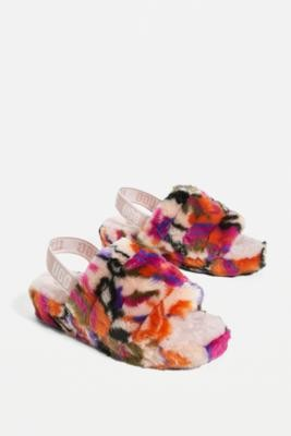 UGG Fluff Yeah Multicolour Slide Sandals - Assorted UK 6 at Urban Outfitters