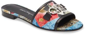 Salvatore Ferragamo Rhodes Floral Leather Slide Sandal