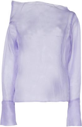 ANAÏS JOURDEN Asymmetric Silk Organza Off-The-Shoulder Top