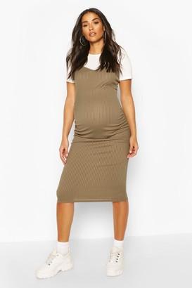 boohoo Maternity 2 in 1 T-Shirt Midi Dress