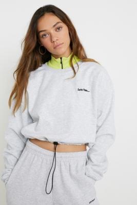 Iets Frans... iets frans. Bubble Hem Crew Neck Grey Marl Sweatshirt - Grey M at Urban Outfitters