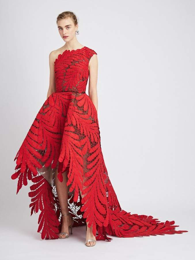 Oscar de la Renta One-Shoulder Embroidered Silk-Faille and Tulle Gown