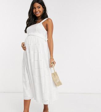 Asos DESIGN Maternity daisy broderie midi sundress with self belt in white
