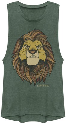 Licensed Character Juniors Lion King Geometric Grown Up Simba Muscle Tank