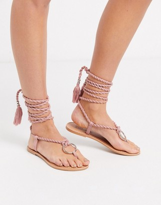Asos DESIGN Feather rope flat sandal in pink