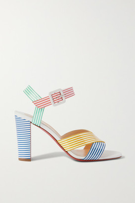 Christian Louboutin Palavas 85 Striped Patent-leather Sandals - Blue