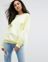 Missguided Oversized Tulle Ruffle Sleeve Sweat Top