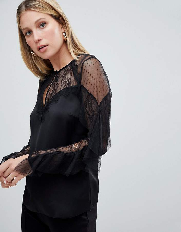Lipsy Lace And Mesh Top With Ruffle Sleeve