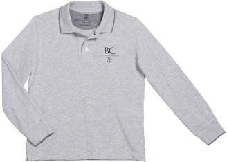 Brunello Cucinelli Boy's Long-Sleeve Polo Shirt with Logo Detail, Size 8-10
