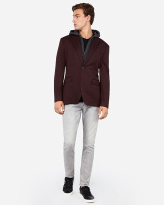 Express Slim Burgundy Knit Zip-Out Hooded Jacket