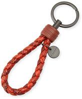 Bottega Veneta Intrecciato Lambskin/Snakeskin Key Ring, Red/Multi
