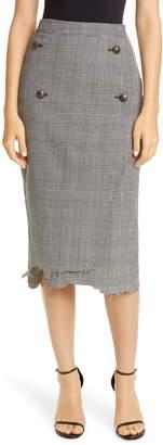 Vetements Distressed Glen Plaid Wool Blend Pencil Skirt