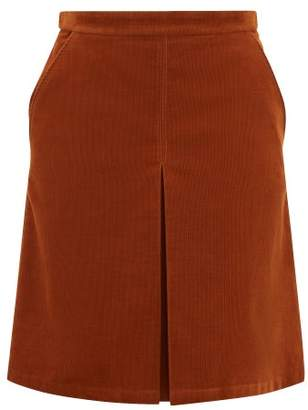 A.P.C. Coco Box Pleated Cotton Blend Corduroy Skirt - Womens - Brown