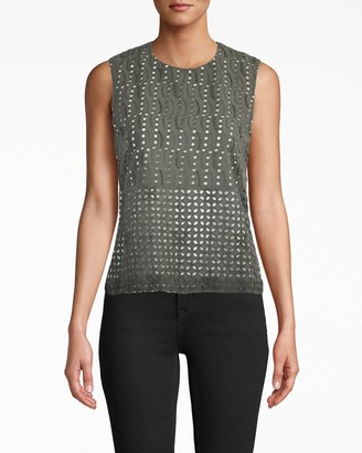 Nicole Miller Beaded Eyelet Shell Top